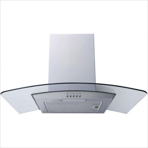 60cm Curved Glass Chimney Hood