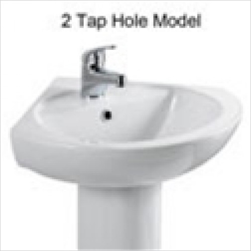 Estuary Bathrooms - Loire Corner Basin 400mm 2 Tap Holes