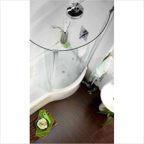 Estuary Bathrooms - Sigma Curved Glass Shower Screen, 1400mm